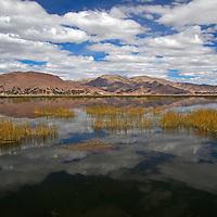 South America, Peru, Lake Titicaca. Clouds and reflections on Lake Titicaca near Puno.