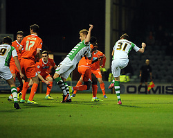 Yeovil Town's John Lundstram scores the opening goal - Photo mandatory by-line: Joe Meredith/JMP - Tel: Mobile: 07966 386802 03/12/2013 - SPORT - Football - Yeovil - Huish Park - Yeovil Town v Blackpool - Sky Bet Championship