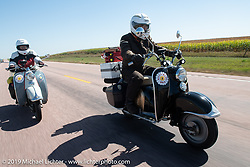 Rocket Scientists (no joke!) Celia and Shaye Williams on their Zundapp Bella 200cc scooters during the Motorcycle Cannonball coast to coast vintage run. Stage 8 (314 miles) from Spirit Lake, IA to Pierre, SD. Saturday September 15, 2018. Photography ©2018 Michael Lichter.