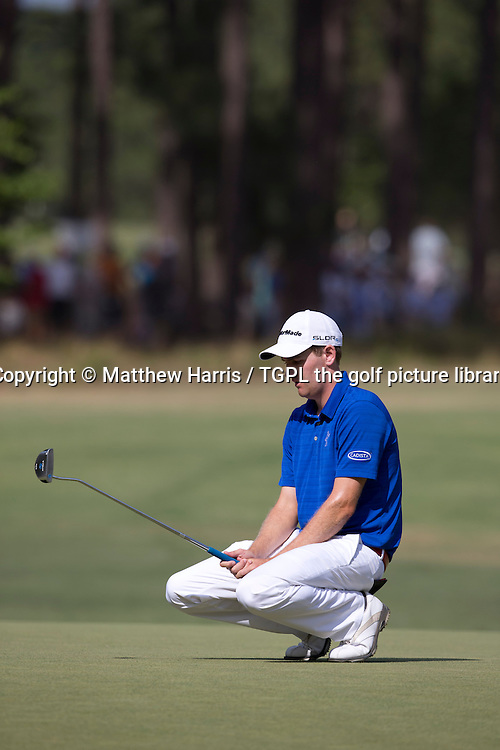 Brendon TODD (USA) reacts to missed putt at 6th par 3 during third round US Open Championship 2014,Pinehurst No 2,Pinehurst,North Carolina,USA.