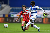 Football - 2019 / 2020 Sky Bet (EFL) Championship - Queens Park Rangers vs. Fulham<br /> <br /> Queens Park Rangers' Ebere Eze holds off the challenge from Fulham's Harry Arter, at Kiyan Prince Foundation Stadium (Loftus Road).<br /> <br /> COLORSPORT/ASHLEY WESTERN