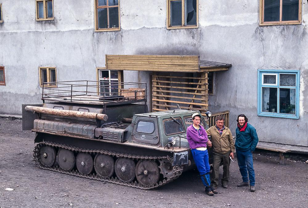 Land Cole, vezdehod driver and Afanassi Makovnev, Village of Sireniki, Chukotsk Peninsula, Northeast Russia