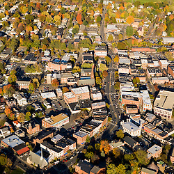 Downtown Northampton, Massachusetts from the air.