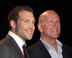 Jai Courtney and Bruce Willis arriving at the A Good Day To Die Hard  premiere in London, Thursday, 7th February 2013. Photo by: Stephen Lock / i-Images