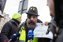 Jérôme Rodrigues during the act 12 of yellow vests protest at the place Feix Eboue in Paris, France, on February 02, 2019. Photo by Serge Tenani/Avenir Pictures/ABACAPRESS.COM