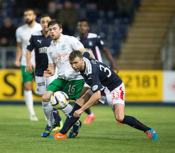 Hibernian's Lewis Stevenson and Falkirk's Rory Loy.<br /> Falkirk 1 v 0 Hibernian, Scottish Championship game played 6/12/2014 at The Falkirk Stadium .