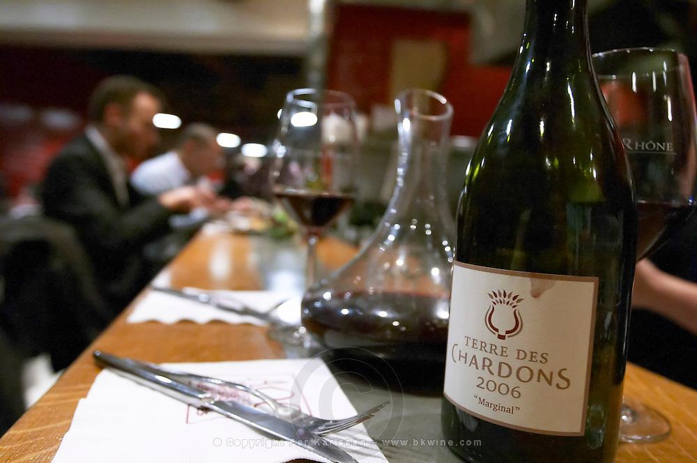 wine bottle, carafe in a wine bar aoc restaurant avignon rhone france