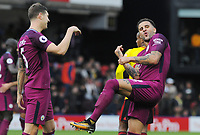 Football - 2017 / 2018 Premier League - Watford vs. Manchester City<br /> <br /> Kyle Walker of Manchester City celebrates at the final whistle with team mate John Stones, at Vicarage Road.<br /> <br /> COLORSPORT/ANDREW COWIE