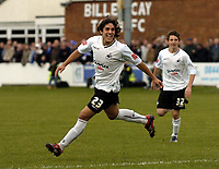 Photo: Olly Greenwood/Sportsbeat Images.<br />Billericay Town v Swansea City. The FA Cup. 10/11/2007. Swansea's Guillem Bauza celebrates scoring the 2nd goal