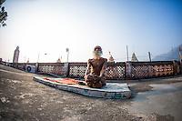 Swami Yogananda at Paramath Niketan Ashram's rooftop, on his daily Sadhana