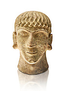 First half of the 6th century B.C Etruscan clay head of a young man made in Chiusi, inv 94612, National Archaeological Museum Florence, Italy , white background .<br /> <br /> If you prefer to buy from our ALAMY PHOTO LIBRARY  Collection visit : https://www.alamy.com/portfolio/paul-williams-funkystock - Scroll down and type - Etruscan Florence - into LOWER search box. (TIP - Refine search by adding a background colour as well).<br /> <br /> Visit our ETRUSCAN PHOTO COLLECTIONS for more photos to download or buy as wall art prints https://funkystock.photoshelter.com/gallery-collection/Pictures-Images-of-Etruscan-Historic-Sites-Art-Artefacts-Antiquities/C0000GgxRXWVMLyc