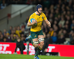 October 8, 2016 - London, Greater London, England - Australia's Dean Mumm runs in for a try.during The Rugby Championship match between Argentina and Australia at WembleyTwickenham on 8th October 2016  (Credit Image: © Kieran Galvin/NurPhoto via ZUMA Press)