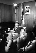 1983-15-08.15th August 1983.15-08-1983.08-15-83..Photographed at Dublin Airport..Taking a breather:..Gold medalist Eamonn Coughlan relaxing at the VIP lounge in Dublin Airport during a press conference on his return from the World Athletics Champonships in Helsinki, Finland..