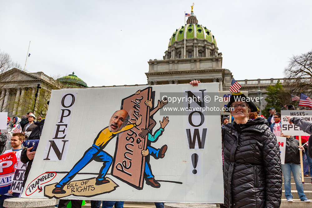 April 20, 2020 -- Protesters gathered at the Pennsylvania Capitol to demand that Governor Tom Wolf reopen the state's economy.