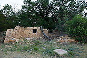 Abandoned ranch house in eastern Colorado valley near New Mexico border. These old farmhouses were typicall built out of native stone from the area.
