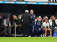 NEWCASTLE UPON TYNE, ENGLAND - SEPTEMBER 17: Steve Bruce of Newcastle United and Marcelo Bielsa of Leeds United shake hands before kick off during the Premier League match between Newcastle United and Leeds United at St. James Park on September 17, 2021 in Newcastle upon Tyne, England. (Photo by MB Media)