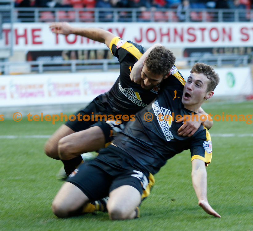 Ryan Ledson and Ben Williamson of Cambridge United celebrate scoring during the Sky Bet League 2 match between Leyton Orient and Cambridge United at the Matchroom Stadium in London. January 30, 2016.<br /> Carlton Myrie / Telephoto Images<br /> +44 7967 642437