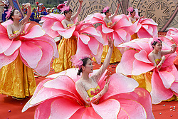 April 18, 2018 - Nanning, China - People of Zhuang ethnic minority group perform singing and dancing in Nanning, southwest China's Guangxi, celebrating Sanyuesan Festival. Sanyuesan Festival is a folk festival of ethnic minority in China, which takes place on 3rd March in the Lunar Calendar. (Credit Image: © SIPA Asia via ZUMA Wire)