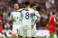 GOAL - Dele Alli of England (8) celebrates after scoring his teams 2nd goal with Jesse Lingard of England (r). FIFA World cup qualifying match, european group F, England v Malta at Wembley Stadium in London on Saturday 8th October 2016.<br /> pic by John Patrick Fletcher, Andrew Orchard sports photography.