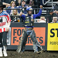 SIOUX FALLS, SD - APRIL 7: Kaique Pacheco celebrates during round two of the 25th Professional Bull Riders Unleash The Beast, on April 7, 2018, at Denny Sanford Premier Center, Sioux Falls, SD. (Photo by Chris Elise)