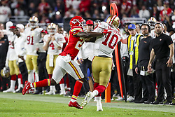 February 2, 2020, Miami Gardens, FL, USA: Kansas City Chiefs defensive back Rashad Fenton (27) sacks San Francisco 49ers quarterback Jimmy Garoppolo (10) during the second half of Super Bowl LIV at Hard Rock Stadium in Miami Gardens, Fla., on Sunday, Feb. 2, 2020. The Chiefs won, 31-20. (Credit Image: © TNS via ZUMA Wire)