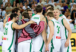 Players of Slovenia after the friendly match before Eurobasket Lithuania 2011 between National teams of Slovenia and Lithuania, on August 24, 2011, in Arena Stozice, Ljubljana, Slovenia. Slovenia defeated Lithuania 88-66. (Photo by Vid Ponikvar / Sportida)