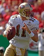 San Francisco quarterback Alex Smith during action against Kansas City at Arrowhead Stadium in Kansas City, Missouri October 1, 2006.  The Chiefs beat the 49ers 41-0.