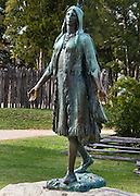 "Bronze statue of Pocahontas at Historic Jamestowne, Virginia, USA. Pocahontas (c. 1595-1617) was a Native American woman who married an Englishman, John Rolfe, and became a celebrity in London in the last year of her life. She was a daughter of Wahunsunacock (also known as Chief or Emperor Powhatan), who ruled an area encompassing almost all of the neighboring tribes in the Tidewater region of Virginia (called Tenakomakah at the time). Her formal names were Matoaka (or Matoika) and Amonute. Pocahontas was a childhood nickname referring to her frolicsome nature (in the Powhatan language it meant ""little wanton"", according to William Strachey). After her baptism, she went by the name Rebecca, becoming Rebecca Rolfe on her marriage. Her father's rule over most of ""Tidewater Virginia"" refers to all areas where water level is affected by the tides, which is most of the land east of present-day I-95 and north of U.S. 460. This is now the 27th largest metropolitan area in the US. It includes Hampton Roads, the rest of the Virginia Peninsula, the Middle Peninsula, the Northern Neck, and the Eastern Shore. Most people of the southeastern area of Virginia refer to Tidewater as the areas of Virginia Beach, Chesapeake, Portsmouth, Norfolk, Suffolk, Hampton, Newport News, Yorktown, Poquoson, Williamsburg and Gloucester."