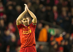 28.01.2014, Anfield, Liverpool, ENG, Premier League, FC Liverpool vs FC Everton, 23. Runde, im Bild Liverpool's captain Steven Gerrard celebrates his side's 4-0 victory over Everton // during the English Premier League 23th round match between Liverpool FC and Everton FC at Anfield in Liverpool, Great Britain on 2014/01/29. EXPA Pictures © 2014, PhotoCredit: EXPA/ Propagandaphoto/ David Rawcliffe<br /> <br /> *****ATTENTION - OUT of ENG, GBR*****