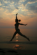 Sunset dance on a beach in Thassos, Greece.