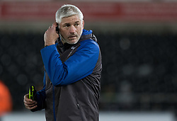 Bath Rugby's Head Coach Todd Blackadder during the pre match warm up<br /> <br /> Photographer Simon King/Replay Images<br /> <br /> Anglo-Welsh Cup Round 4 - Ospreys v Bath Rugby - Friday 2nd February 2018 - Liberty Stadium - Swansea<br /> <br /> World Copyright © Replay Images . All rights reserved. info@replayimages.co.uk - http://replayimages.co.uk
