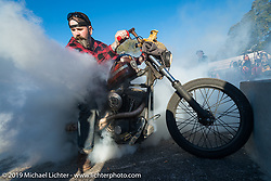 Daren McKeag does a burn-out at Willie's Tropical Tattoo annual Old School Bike Show during Daytona Bike Week. FL, USA. March 13, 2014.  Photography ©2014 Michael Lichter.