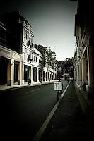 Beautiful old qilou buildings line the peaceful streets of En Ning Street in downtown Guangzhou.