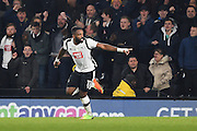 Derby County forward Darren Bent (11) scores a goal to make it 3-3 during the EFL Sky Bet Championship match between Derby County and Cardiff City at the Pride Park, Derby, England on 14 February 2017. Photo by Jon Hobley.