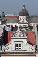 church of St Anne seen over the roof tops from the Town Hall Clock Tower in Rynek Glowny