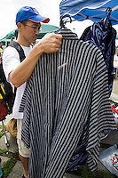 Second hand Kimonos on sale.  Second-hand Kimonos are a popular item among foreign tourists and younger Japanese.