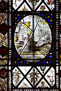 Medieval stained glass window, Holy Trinity church, Long Melford, Suffolk, England - roundel possibly 17thC