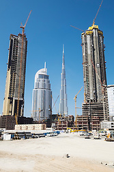 View of construction site of new high-rise luxury apartment towers in Dubai United Arab Emirates