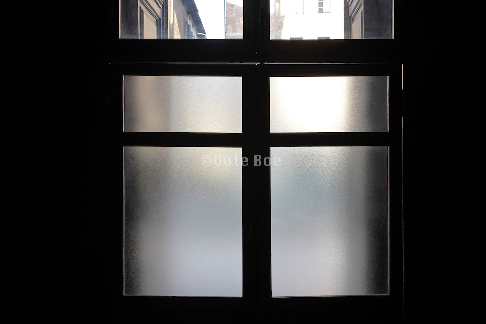 a double door with frosted glass