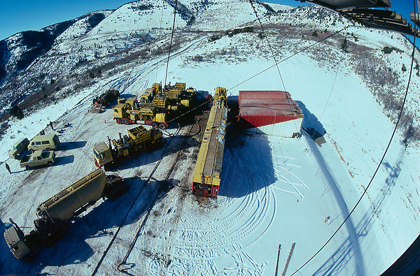 Stock photo of a snow covered fracking operation