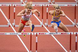 03-03-2017  SRB: European Athletics Championships indoor day 1, Belgrade<br /> In een lege Kombank Arena wordt de eerste dag van het Europees Kampioenschap gehouden / Carolina Koleczek POL, Maja Rogemyr SWE