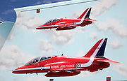 Royal Air Force red arrows display team vehicle at air show, Swansea, West Glamorgan, South Wales, UK