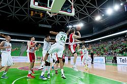 Jaka Blazic #11 of KK Crvena Zvezda Beograd during basketball match between KK Union Olimpija Ljubljana and KK Crvena Zvezda Beograd in 4th Round of ABA League 2013/14 on October 20, 2013 in Arena Stozice, Ljubljana, Slovenia. (Photo by Urban Urbanc / Sportida.com)