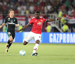 August 8, 2017 - Skopje, Macedonia - Paul Pogba of Manchester United in action with Luca Modric of Real Madrid during the UEFA Super Cup match between Real Madrid and Manchester United at Philip II Arena on August 8, 2017 in Skopje, Macedonia. (Credit Image: © Ahmad Mora/NurPhoto via ZUMA Press)