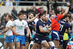 March 17, 2018 - Rome, RM, Italy - Sean Maitland of Scotland celebrate the scoring during the Six Nations 2018 match between Italy and Scotland at Olympic Stadium on March 17, 2018 in Rome, Italy. (Credit Image: © Danilo Di Giovanni/NurPhoto via ZUMA Press)