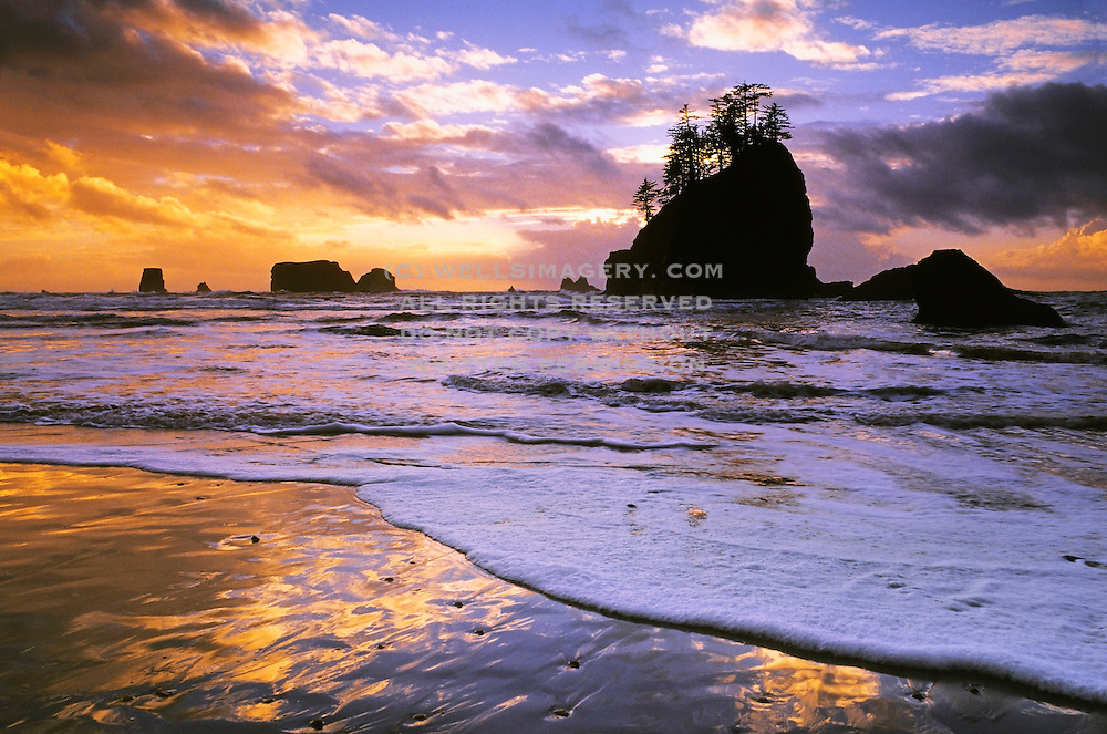 Image of Second Beach at sunset, Olympic National Park, Olympic National Seashore, La Push, Washington, Pacific Northwest by Randy Wells