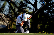 Feb 25, 2016; Palm Beach Gardens, FL, USA; Rory McIlroy reacts after his drive on the 14th hole during the first round of the Honda Classic at PGA National. Mandatory Credit: Peter Casey-USA TODAY Sports