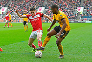 Callum O'Dowda (11) of Bristol City challenges Ivan Cavaleiro (7) of Wolverhampton Wanderers during the The FA Cup 5th round match between Bristol City and Wolverhampton Wanderers at Ashton Gate, Bristol, England on 17 February 2019.