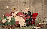 Dr Syntax with a Blue Stocking Beauty.  The Blue Stockings were an informal group of educated, intellectual and literary women of the late 18th and early 19th centuries. Thomas Rowlandson illustration for 'The Tours of Dr Syntax' by William Combe (London, 1820). Aquatint.