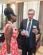 © Licensed to London News Pictures. 25/06/2014. London, UK. FLOELLA BENJAMIN talks with MICHAEL GOVE. The Deputy Prime Minister hosts an awards ceremony on Wednesday 25 June for schools from across the country who have won this year's Pupil Premium Awards. The awards are for schools that have shown that they can use the extra funding for pupils from disadvantaged backgrounds to narrow the attainment gap between them and their peers. Every region has a primary and secondary school winner, and a number of special schools are recognised for their achievement. The three overall national winners will also be announced at the event.. Photo credit : Stephen Simpson/LNP
